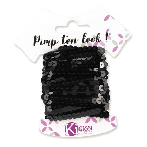 6 cintas de lentejuelas 6 m - negro