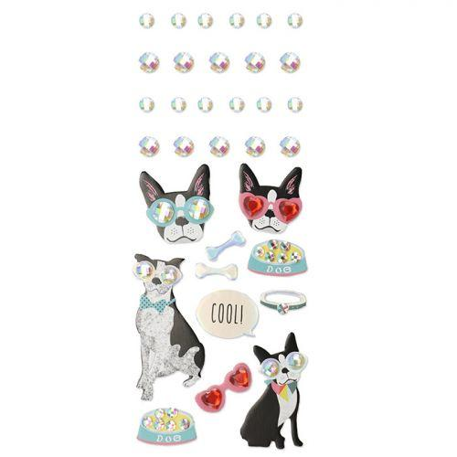 33 3D stickers - Dog with glasses