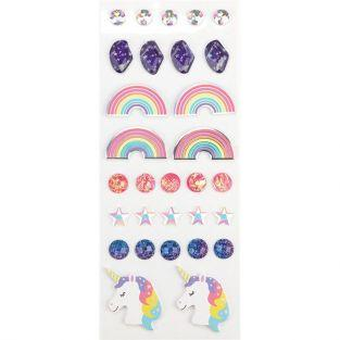 30 stickers 3D - Arc-en-Ciel