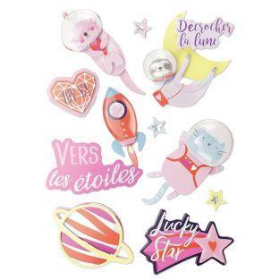 10 stickers 3D - Galaxie