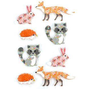 8 stickers 3D - Animaux de la forêt