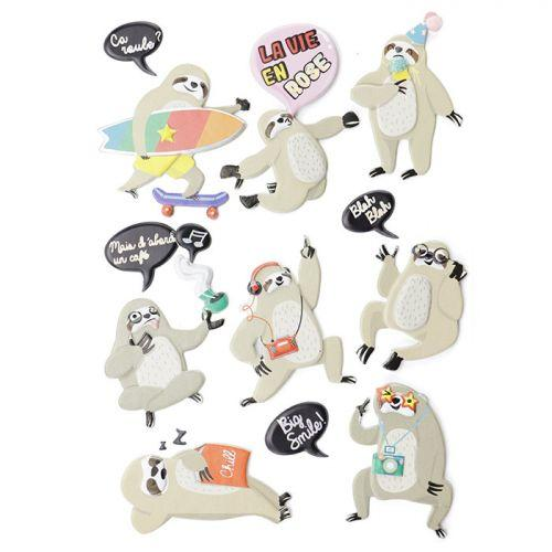 15 3D stickers - Sloth