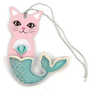 2 etiquetas 3D con purpurina - Sirena gato
