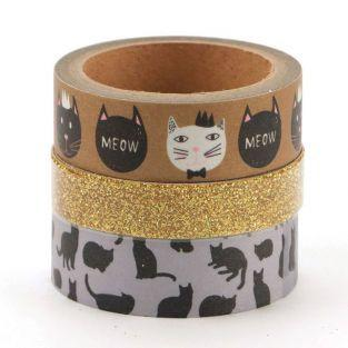 3 masking tapes - Gatos