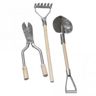 3 mini metal-wood garden tools 9-13 cm