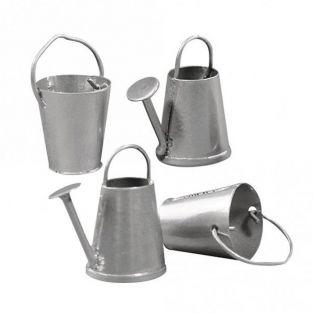 2 mini watering cans and buckets 2 cm