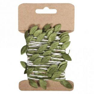 Guirlande de feuilles vertes en papier 2 m