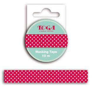 Masking Tape Rouge à pois blanc - 10 m