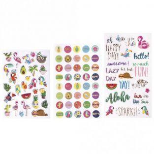 89 stickers colorés - Tropical