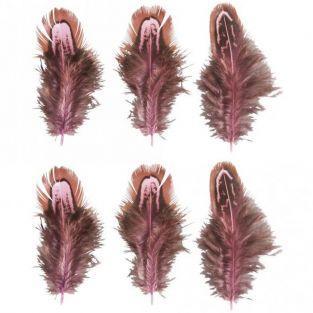 6 plumes décoratives - Rose oeillet