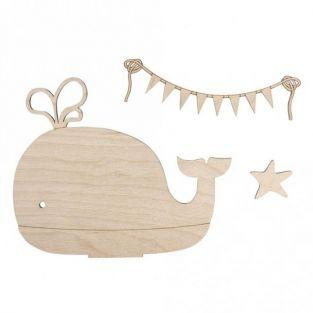 Wooden silhouette to customize 20 x 16,5 cm - Whale