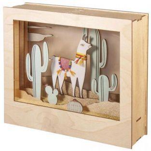 Cadre décoratif en bois à motif 3D - 24 x 20 x 6,9 cm - Lama