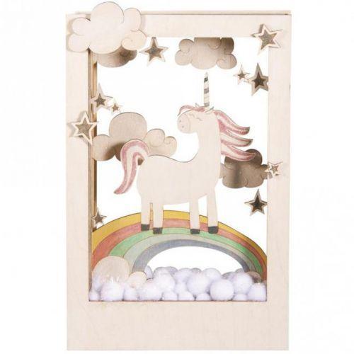 Cadre décoratif en bois à motif 3D - 20 x 30 x 6,5 cm - Licorne