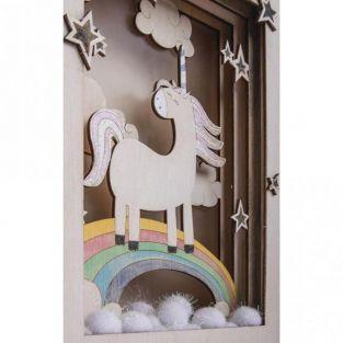 Marco de madera con escena 3D - 20 x 30 x 6,5 cm - Unicornio