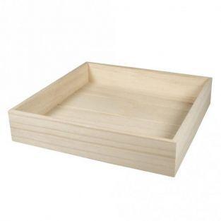 Bandeja cuadrada de madera para personalizar 25 x 25 x 5 cm