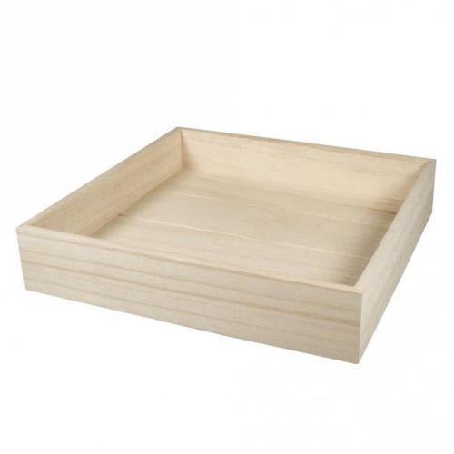 Plateau carré en bois à customiser 25 x 25 x 5 cm