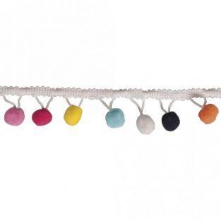 Galon de pompons colorés 2 m