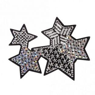 Iron-on patch with Rhinestones 6.2 x 4.9 cm - Stars