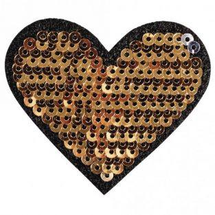 Iron-on patch with rhinestones 5 x 4.5 cm - Heart