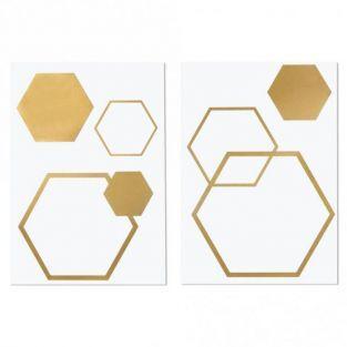 Transfert 6 hexagones dorés thermocollants à repasser