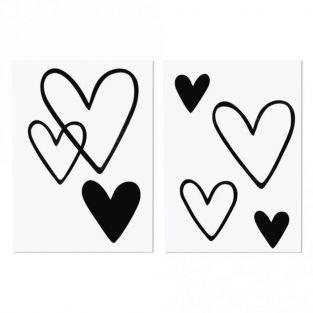 Transfer termoadhesivo - 6 corazones negros