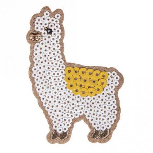 Iron-on patch with rhinestones 5 x 7.1 cm - Alpaca