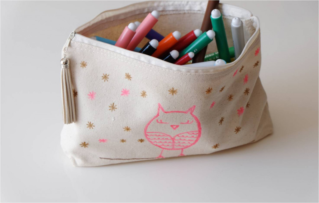 customisation de trousse textile