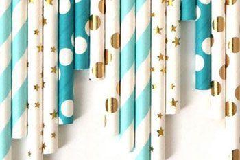 Pajitas con colores o rayas para cumpleaños
