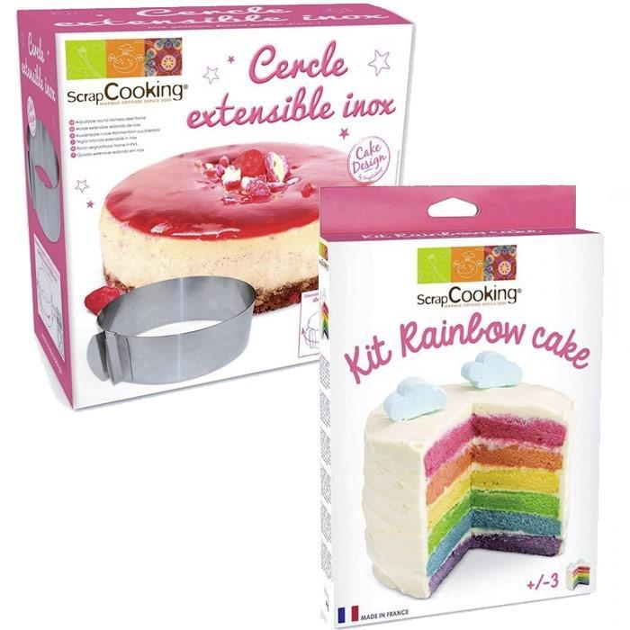 kit rainbow cake cercle extensible inox scrapcooking. Black Bedroom Furniture Sets. Home Design Ideas
