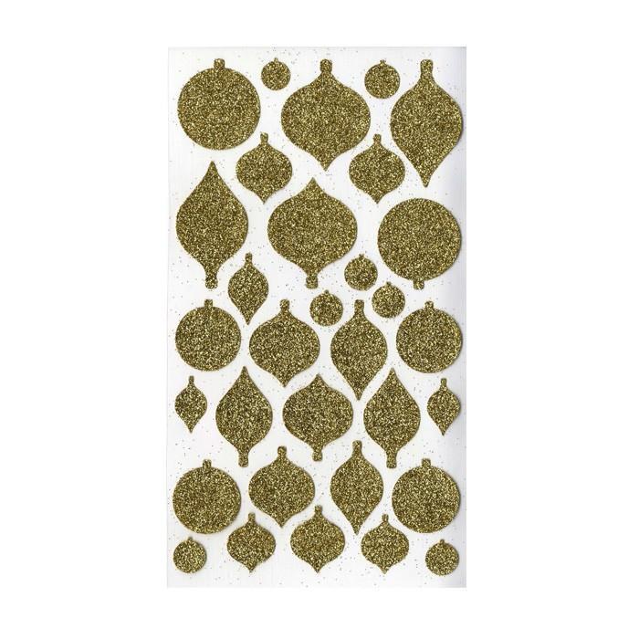 stickers boules de no l paillettes dor es youdoit. Black Bedroom Furniture Sets. Home Design Ideas