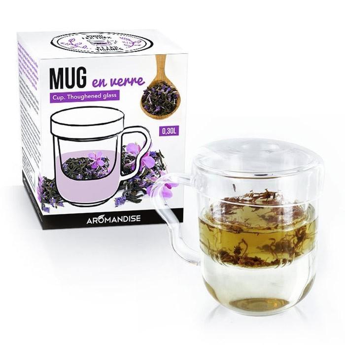 mug th avec poign e infuseur et couvercle verre youdoit. Black Bedroom Furniture Sets. Home Design Ideas