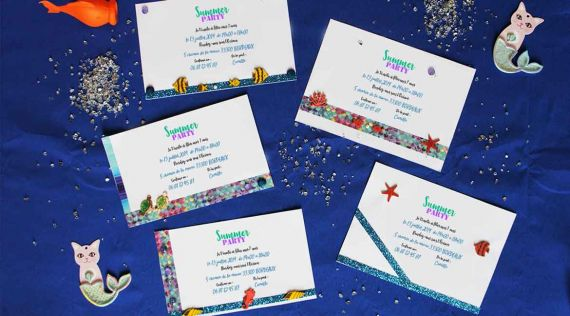 Mermaid: idea of invitations cards for Anniversary