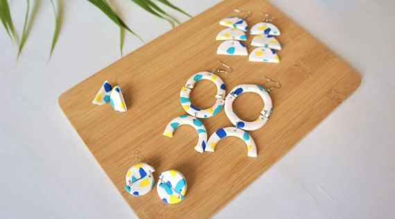 DIY Fimo: terrazzo earrings